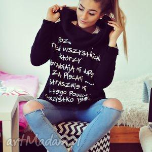 blogerska czarna bluza z napisami komin kaptur s m l, redmasterclothes