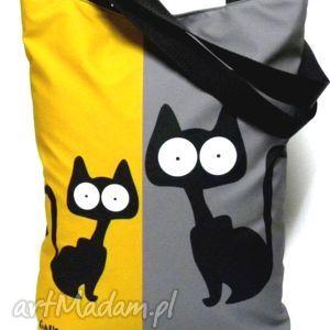 święta prezenty, na ramię torbana napę z kotami, torba, koty, pojemna, pakowna