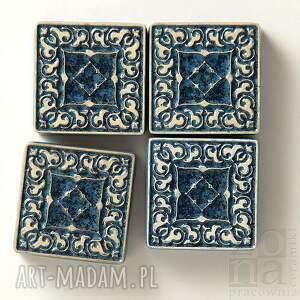 dekory małe szaroniebieskie, dekory, kafle, płytki, ścienne, ceramiczne, handmade