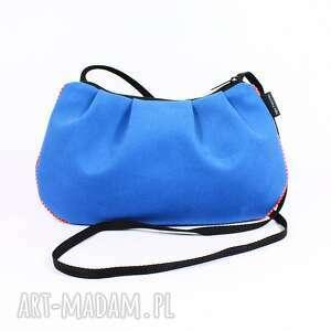 na ramię torebka niebieska , torebka, bawełna, kropki, marszczenie, święta prezent