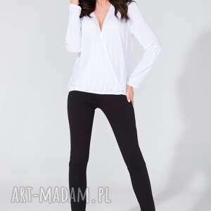 bluzka koszulowa z kopertowym przodem t131 biały - bluzka, koszula, koperta, luźna