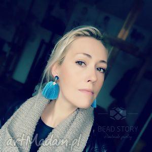 pędzelki błękitne, sztyfty, metal, kaboszon, szkło, kryształ, chwost biżuteria