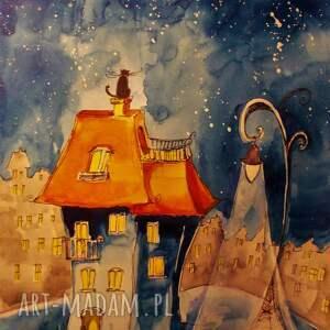 obrazy akwarela kocia noc artystki plastyka adriany laube, akwarela, kot, miasto