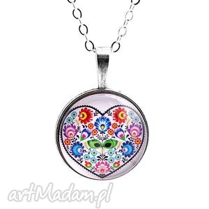 Medalion Folk serce, medalion, folk, kwiaty, folkowy
