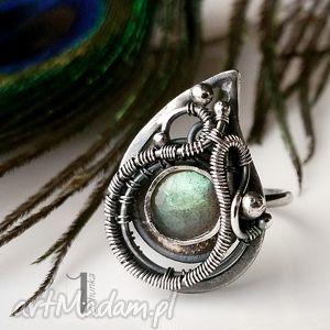 zielona arabeska - srebrny pierścionek z labradorytem , srebro, 925, labradoryt
