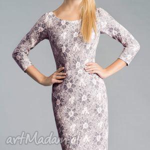 sukienki sukienka dita midi shanon, dopasowana, ołówkowa, koronka, miękka
