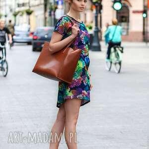 Sukienka/Tunika Fiore - Blu, sukienka, tunika, jesień, motyw, print