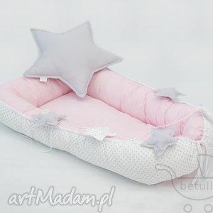 kokon niemowlęcy otulacz pastelowy róż kropki, kokon, olulacz, leżaczek, pikowany