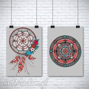 grafika zestaw dwóch prac a3, łapacz, mandala