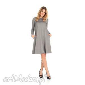 2-sukienka rozkloszowana j.szara,długa, lalu, sukienka, dzianina, kieszenie