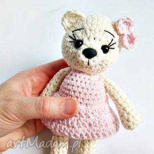 kremowa misia w różowej sukience - 15 cm, misie, miś, maskotki, przytulanki dla