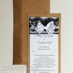 zaproszenia ślubne eko z koronką i kokardą vintage eco, zaproszenie, ślub