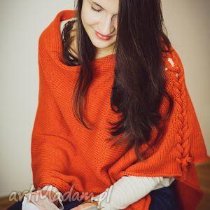 hermina ponczo z warkoczem, poncho, warkocz, pomarańcz, wełna ubrania, oryginalny