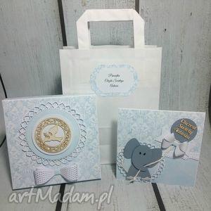 elegancki zestaw - pamiątka ze słonikiem dla maluszka , pudełko, balon, kokarda