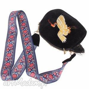 Prezent damska torebka haftowana etniczna z motywem ptaka, ptak, haftowana, aksamit