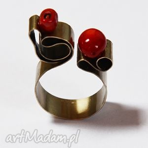oryginalny pierścionek z alpaki koralem, koral, alpaka, metal, srebro