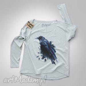 bluzki kruk bluzka z długim rękawem, bluzka, rekawy, nadruk