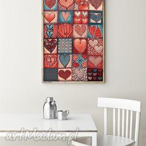 grafika serca a3, serca, miłość, walentynki, plakat dom