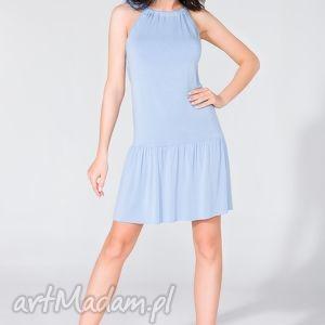 sukienka z falbanką t129 niebieski - sukienka, letnia, falbanka, kokarda