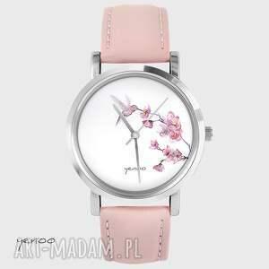 zegarki zegarek, bransoletka - koliber pudrowy róż, skórzany