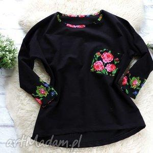 bluzy dresowa bluza oversize folkowa cleo kwiaty folk, bluza, folkowa, góralska