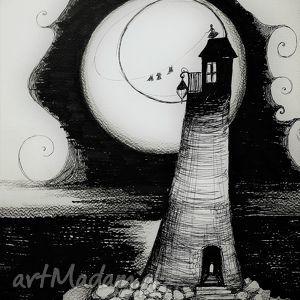 Grafika, rysunek piórkiem Latarnia morska rozm. A3, grafika, morze, latarnia