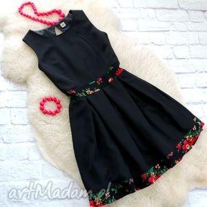 sukienka z kontrafałdami góralskie kwiaty cleo, sukienka, folk, góralska
