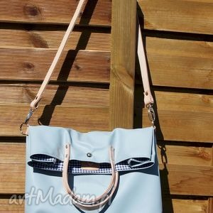 składana mana błękitna chmurka, torba, torebka, składana, pastelowa