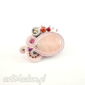 różowo-srebrna broszka sutasz - broszka, przypinka, kwarc, srbrny
