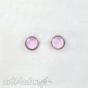 kolczyki - kropki, jasno różowe wkrętki, sztyfty, mini, kolczyki, grafika