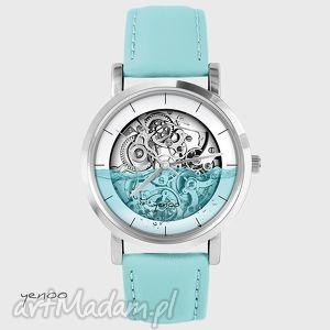 zegarek - wodny steampunk turkusowy, skórzany, zegarek