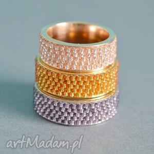 Obrączka YES! - fioletowa, obrączka, pierścionek, toho, nunn, haft, koralikowy