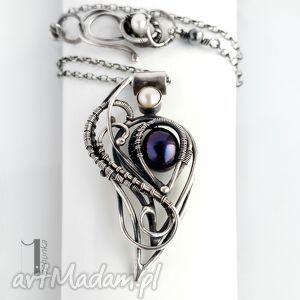 monochrome v black orchid ii srebrny naszyjnik z perłami, srebro, 925, wirewrapping
