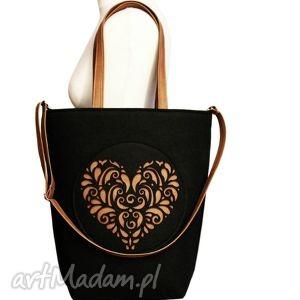 na ramię shopper bag folk 2 czarne serce - czech draft, xxl, rozeta, filcowa, duża