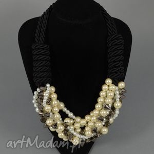 kolia naszyjnik mariah, elegancki, perłowy, naszyjnik, kolia, ćwieki, perły biżuteria