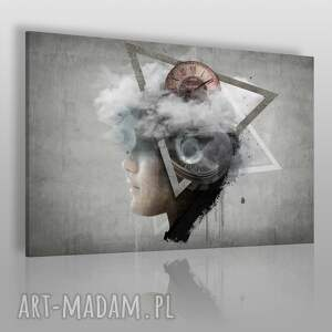 obraz na płótnie - abstrakcja twarz 120x80 cm 26101 , zegar, twarz, beton