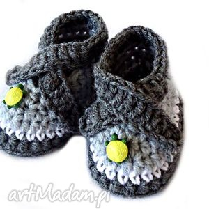 szydełkowe buciki dla chłopca z żółwikami, szydełkowe, wełniane, żółwiki