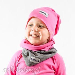 jesienna czapa smerfetka- różowa, bawełna, handmade, surowa, czapa, metka, jesień dla
