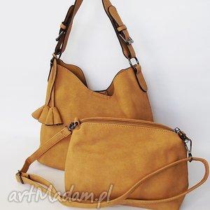 na ramię dwie w jednej- miodowa, torba, torebka torebki, wyjątkowy prezent