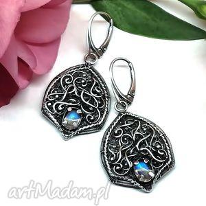 kamień księżycowy, kolczyki, kamień, księzycowy, hajcz, srebro, niebieski biżuteria