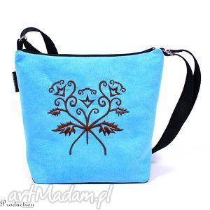 torebka z pieknym haftem niebieska, torebka, wyszywana, haft, ecozamsz