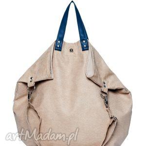 torebki torba worek short beige, duża, alkantara, zamsz, zakupy, beż