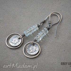 grey line project kolczyki z akwamarynem v 1, srebro, 925, akwamaryn biżuteria