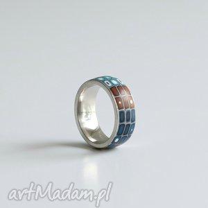 Brązowo-niebieska obrączka, obrączki, pierścionki, ombre, geometryczne, stal, srebrny