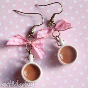 Gorąca czekolada , filiżanka, czekolada, ceramika, modelina, kokardka, fimo