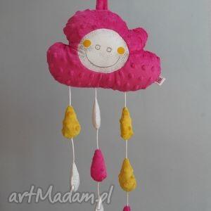 chmurka z serii fluffy- mobil zawieszka, mobil, chmurka, minky, krople