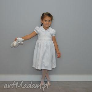 biała dama - sukienka z krótkim rękawem, biała, sukienka, 3lata, kokarda, kolnierzyk