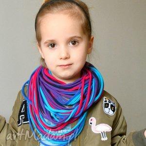 naszyjnik dzianinowy kobaltowo-filoetowy, bawełna dla dziecka