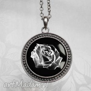 mystic rosa naszyjnik z różą w szkle - duzy, duży, medalion, wisior