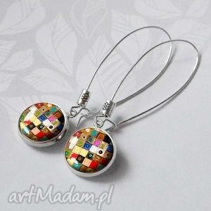 Prezent Kolorowe kolczyki z grafiką, ze szklanym oczkiem Artistic Mosaic, kolorowy